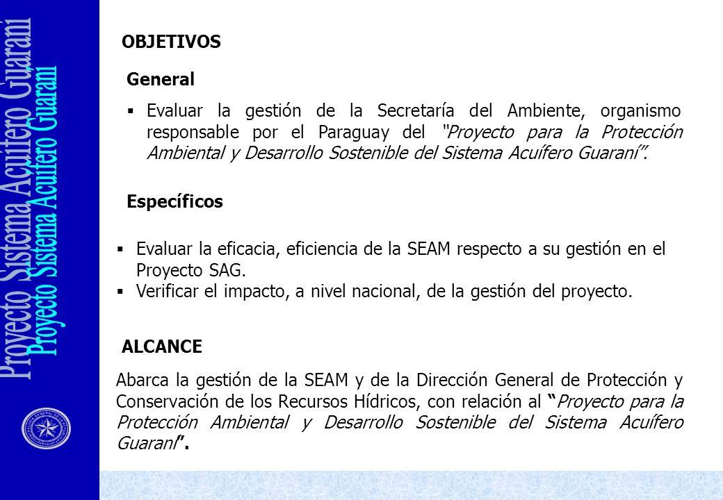 OBJETIVOS General Evaluar la gestión de la Secretaría del Ambiente, organismo responsable por el Paraguay del Proyecto para la Protección Ambiental y