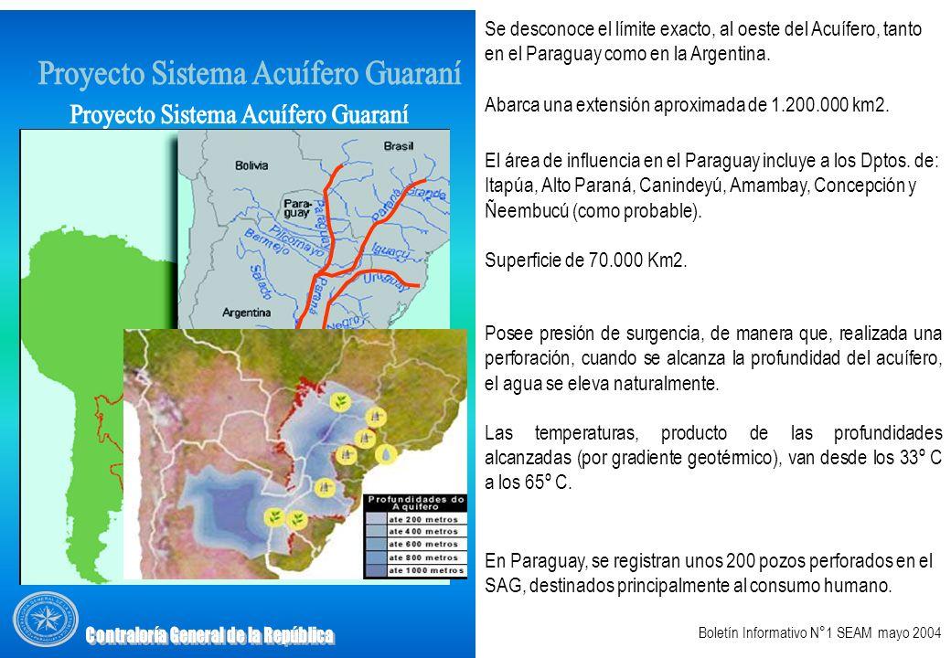 Abarca una extensión aproximada de 1.200.000 km2. Se desconoce el límite exacto, al oeste del Acuífero, tanto en el Paraguay como en la Argentina. El