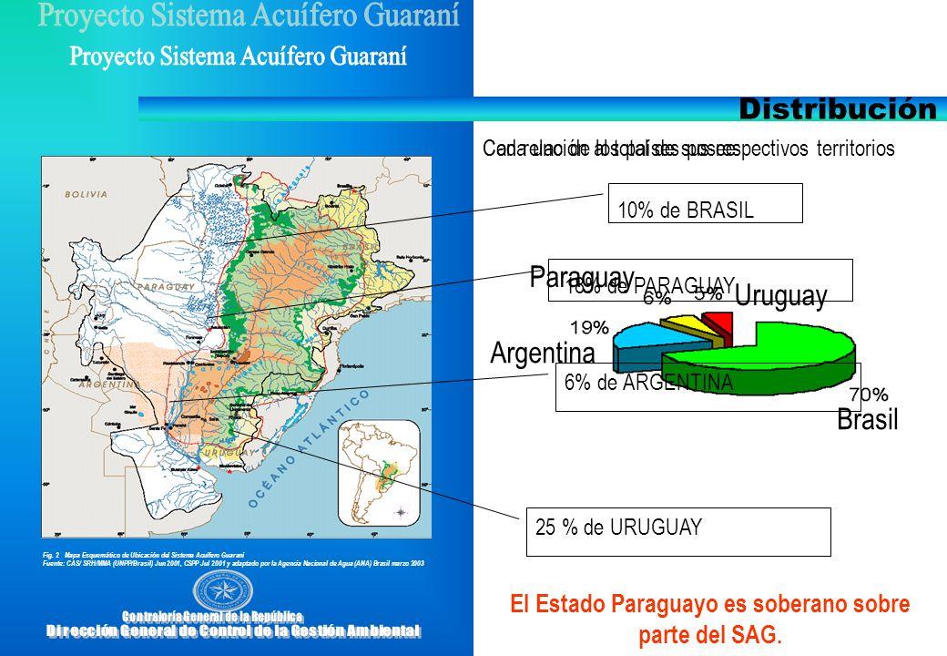 Fig. 2 Mapa Esquemático de Ubicación del Sistema Acuífero Guaraní Fuente: CAS/ SRH/MMA (UNPP/Brasil) Jun 2001, CSPP Jul 2001 y adaptado por la Agencia