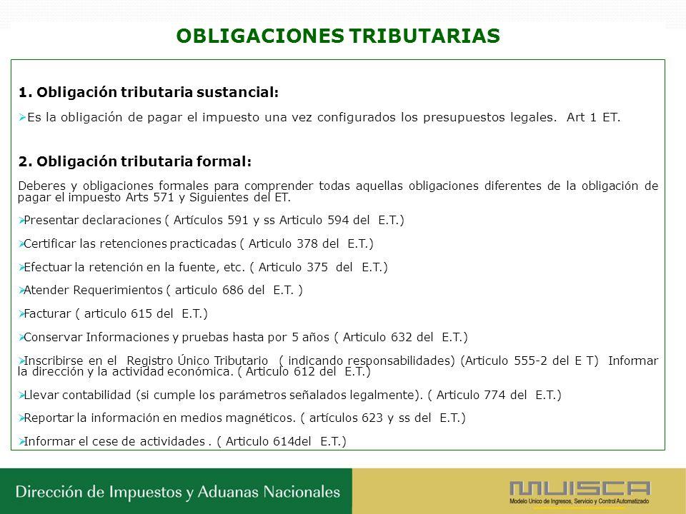 OBLIGACIONES TRIBUTARIAS 1. Obligación tributaria sustancial: Es la obligación de pagar el impuesto una vez configurados los presupuestos legales. Art