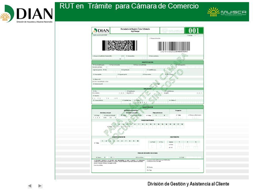 División de Gestión y Asistencia al Cliente RUT en Trámite para Cámara de Comercio