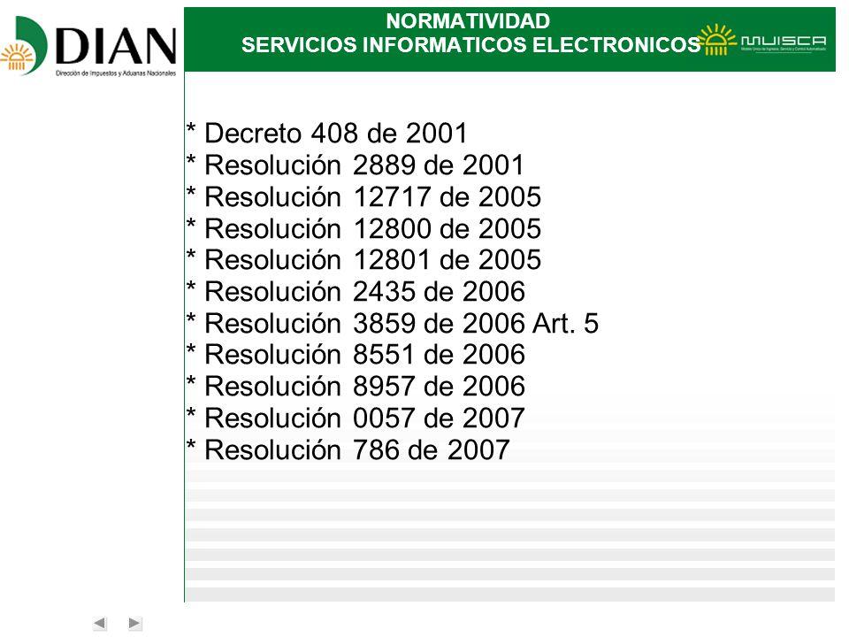 NORMATIVIDAD SERVICIOS INFORMATICOS ELECTRONICOS * Decreto 408 de 2001 * Resolución 2889 de 2001 * Resolución 12717 de 2005 * Resolución 12800 de 2005