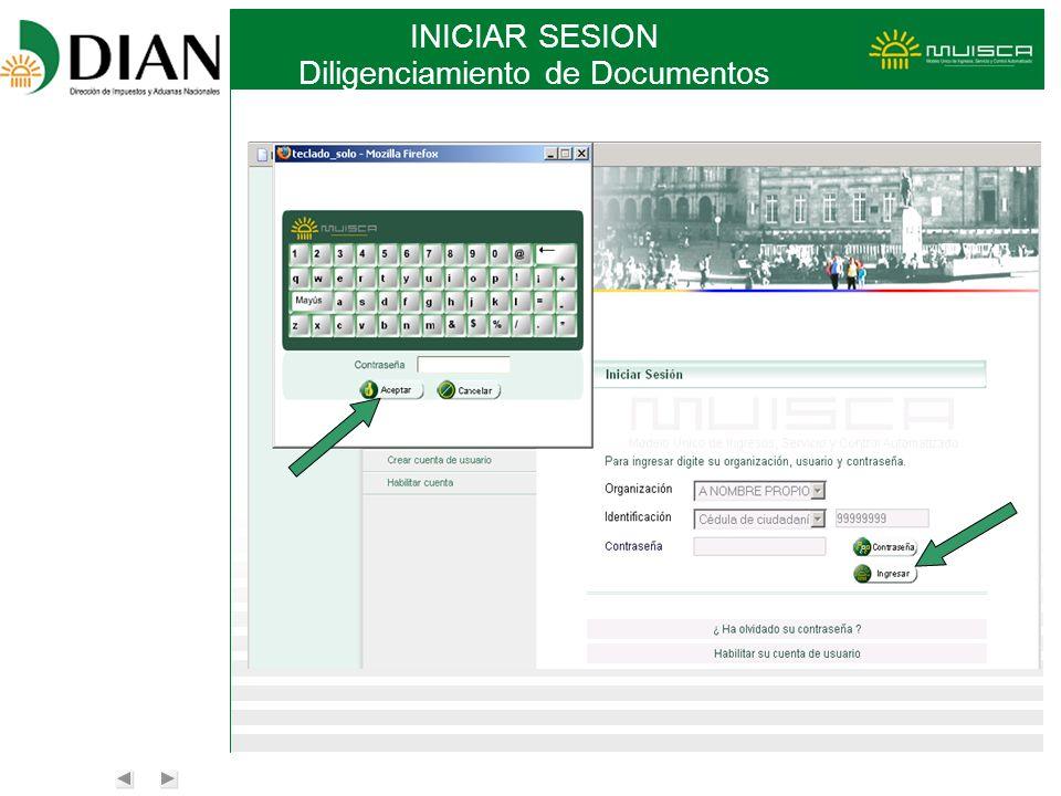 INICIAR SESION Diligenciamiento de Documentos
