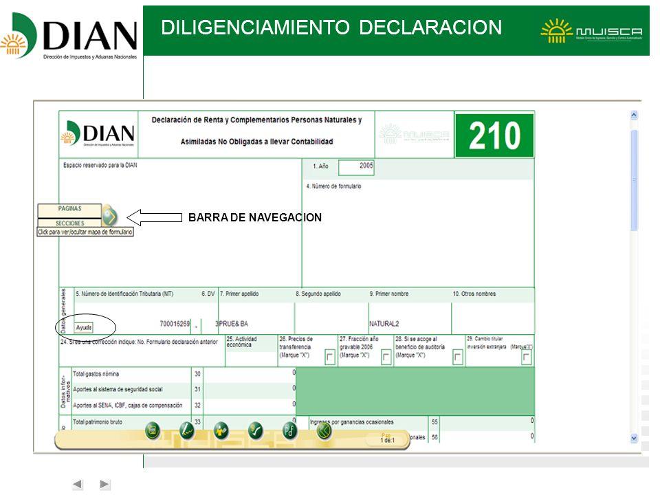 BARRA DE NAVEGACION DILIGENCIAMIENTO DECLARACION