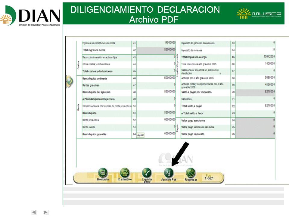 DILIGENCIAMIENTO DECLARACION Archivo PDF