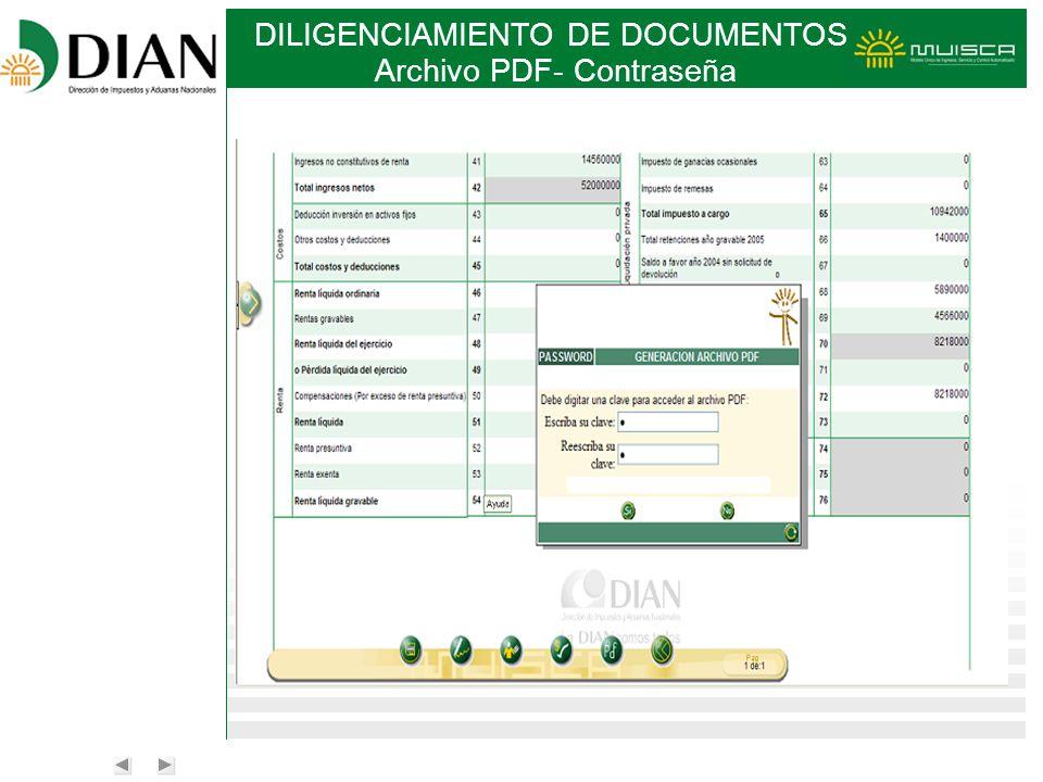 DILIGENCIAMIENTO DE DOCUMENTOS Archivo PDF- Contraseña