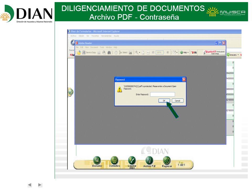 DILIGENCIAMIENTO DE DOCUMENTOS Archivo PDF - Contraseña