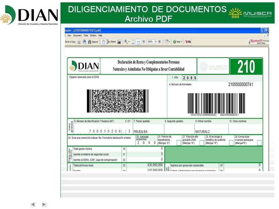 DILIGENCIAMIENTO DE DOCUMENTOS Archivo PDF