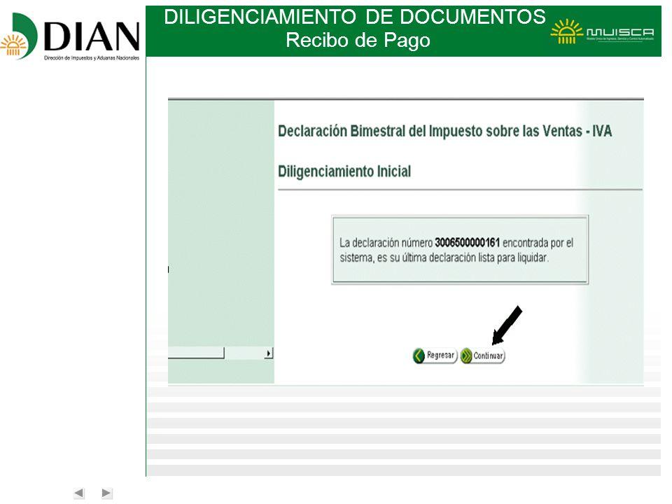 DILIGENCIAMIENTO DE DOCUMENTOS Recibo de Pago
