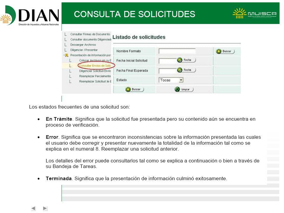 CONSULTA DE SOLICITUDES