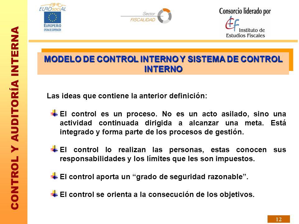 CONTROL Y AUDITORÍA INTERNA 12 Las ideas que contiene la anterior definición: El control es un proceso. No es un acto asilado, sino una actividad cont