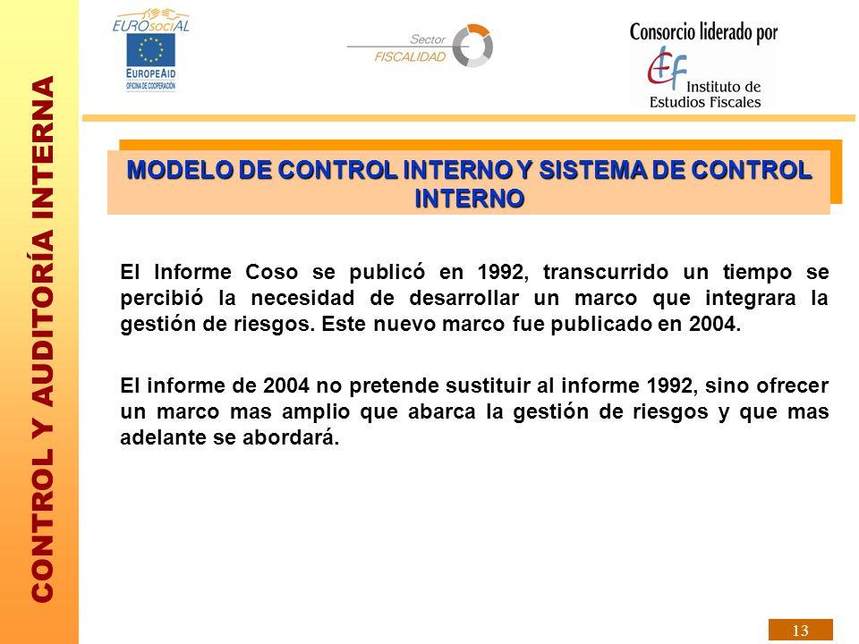 CONTROL Y AUDITORÍA INTERNA 13 El Informe Coso se publicó en 1992, transcurrido un tiempo se percibió la necesidad de desarrollar un marco que integra