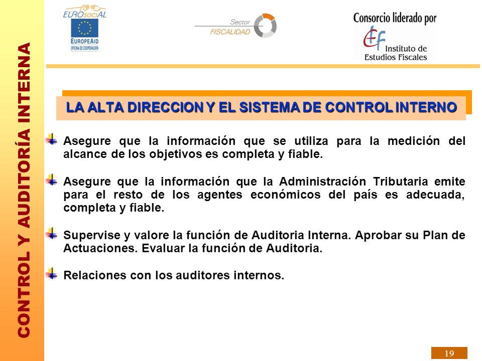 CONTROL Y AUDITORÍA INTERNA 19 Asegure que la información que se utiliza para la medición del alcance de los objetivos es completa y fiable. Asegure q
