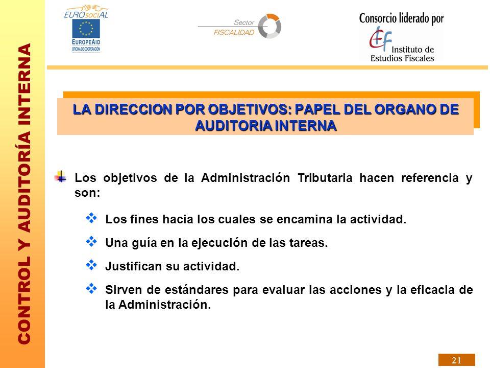 CONTROL Y AUDITORÍA INTERNA 21 Los objetivos de la Administración Tributaria hacen referencia y son: Los fines hacia los cuales se encamina la activid