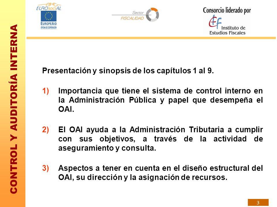 CONTROL Y AUDITORÍA INTERNA 3 Presentación y sinopsis de los capítulos 1 al 9. 1)Importancia que tiene el sistema de control interno en la Administrac