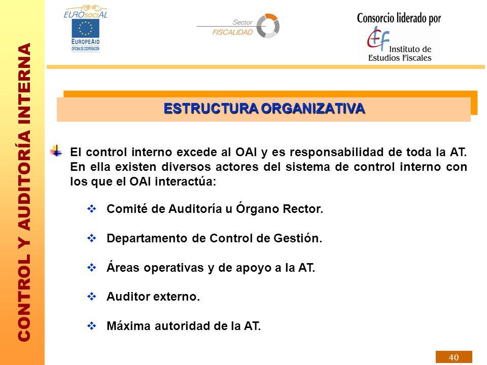 CONTROL Y AUDITORÍA INTERNA 40 ESTRUCTURA ORGANIZATIVA El control interno excede al OAI y es responsabilidad de toda la AT. En ella existen diversos a
