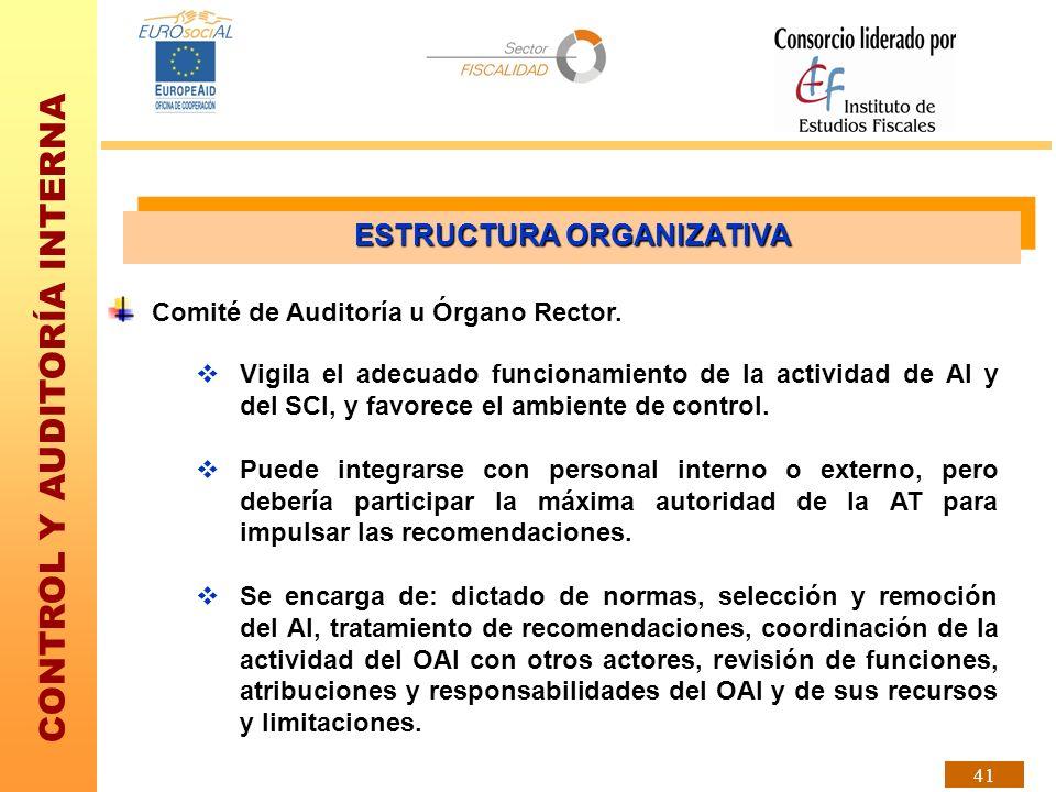 CONTROL Y AUDITORÍA INTERNA 41 Comité de Auditoría u Órgano Rector. Vigila el adecuado funcionamiento de la actividad de AI y del SCI, y favorece el a