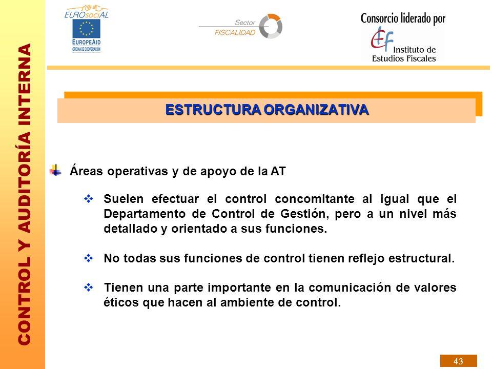 CONTROL Y AUDITORÍA INTERNA 43 Áreas operativas y de apoyo de la AT Suelen efectuar el control concomitante al igual que el Departamento de Control de