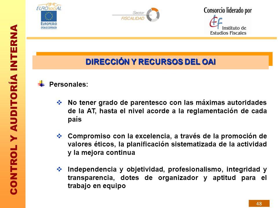 CONTROL Y AUDITORÍA INTERNA 48 No tener grado de parentesco con las máximas autoridades de la AT, hasta el nivel acorde a la reglamentación de cada pa