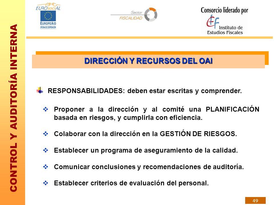 CONTROL Y AUDITORÍA INTERNA 49 Proponer a la dirección y al comité una PLANIFICACIÓN basada en riesgos, y cumplirla con eficiencia. Colaborar con la d