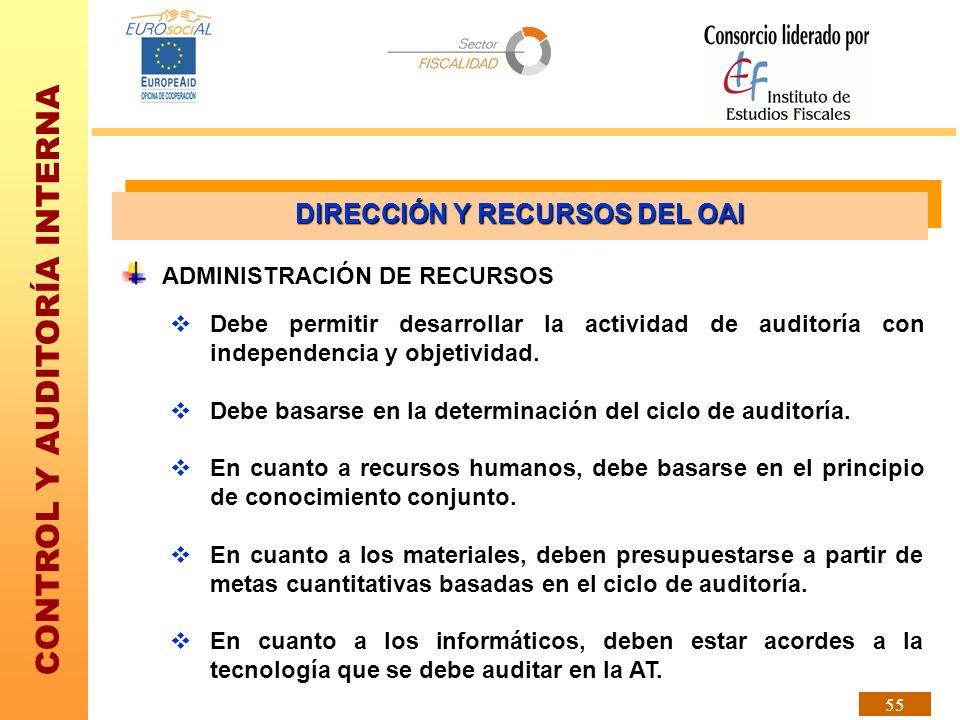 CONTROL Y AUDITORÍA INTERNA 55 Debe permitir desarrollar la actividad de auditoría con independencia y objetividad. Debe basarse en la determinación d