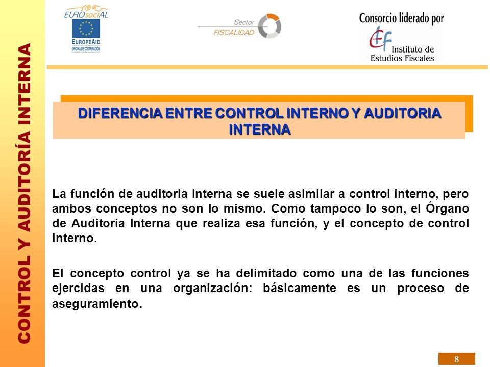 CONTROL Y AUDITORÍA INTERNA 8 DIFERENCIA ENTRE CONTROL INTERNO Y AUDITORIA INTERNA La función de auditoria interna se suele asimilar a control interno