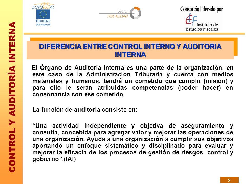 CONTROL Y AUDITORÍA INTERNA 9 El Órgano de Auditoria Interna es una parte de la organización, en este caso de la Administración Tributaria y cuenta co