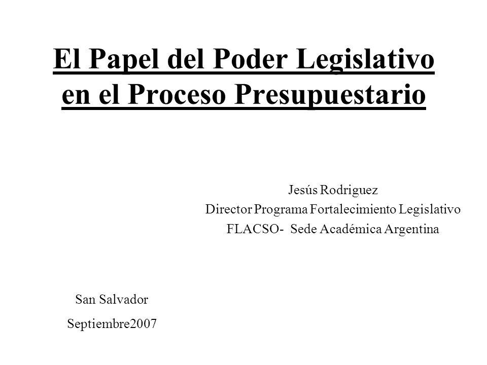 2 Indice I-Pertinencia del Análisis sobre el Papel del Congreso en la Discusión Presupuestaria II-Potestades de los Poderes Públicos Involucrados en el Proceso Presupuestario III-Determinantes del Papel del Poder Legislativo en el Control Presupuestario IV-El Caso Argentino San Salvador Septiembre2007
