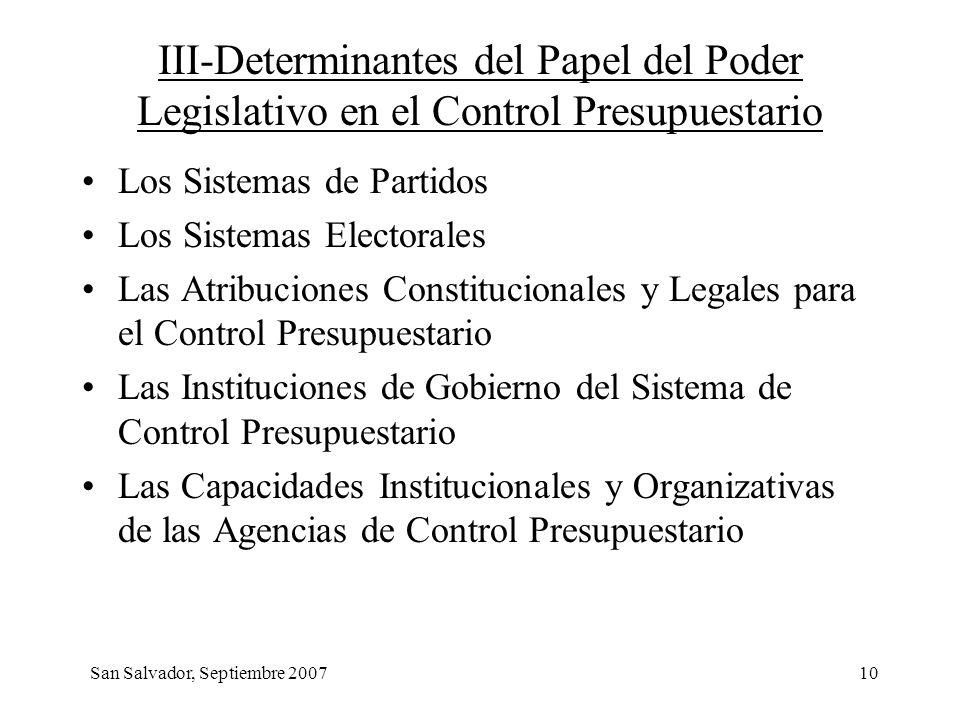 10 III-Determinantes del Papel del Poder Legislativo en el Control Presupuestario Los Sistemas de Partidos Los Sistemas Electorales Las Atribuciones C