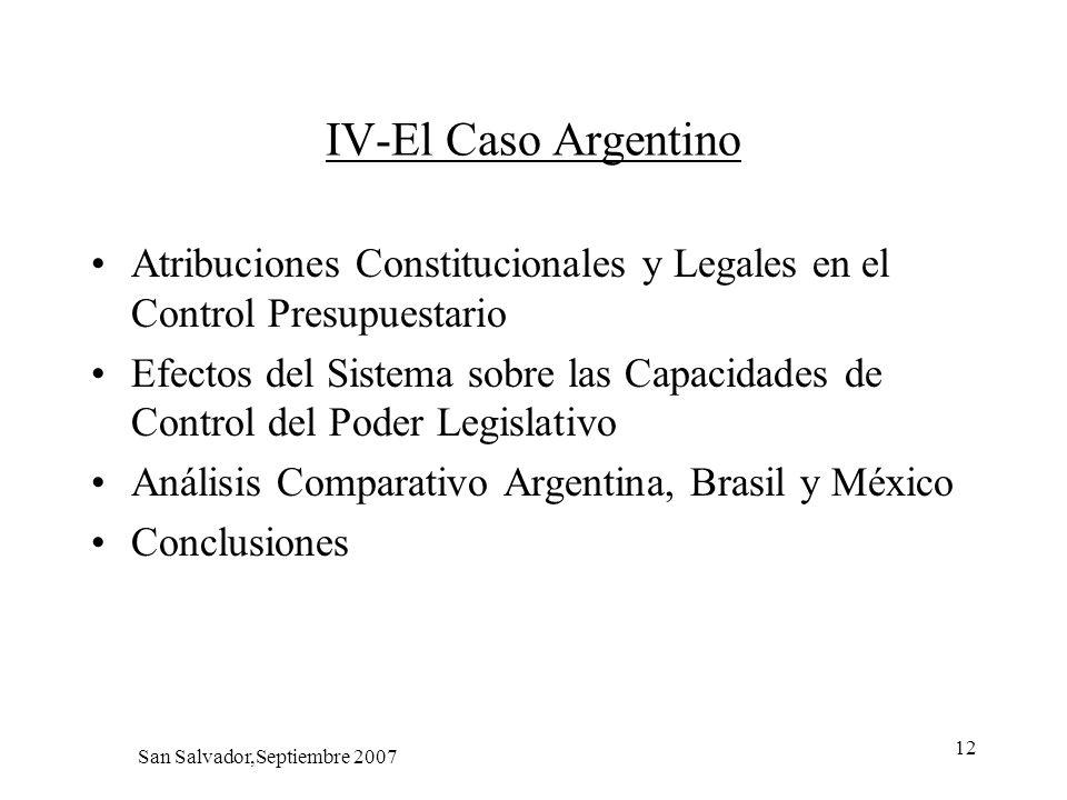 12 IV-El Caso Argentino Atribuciones Constitucionales y Legales en el Control Presupuestario Efectos del Sistema sobre las Capacidades de Control del