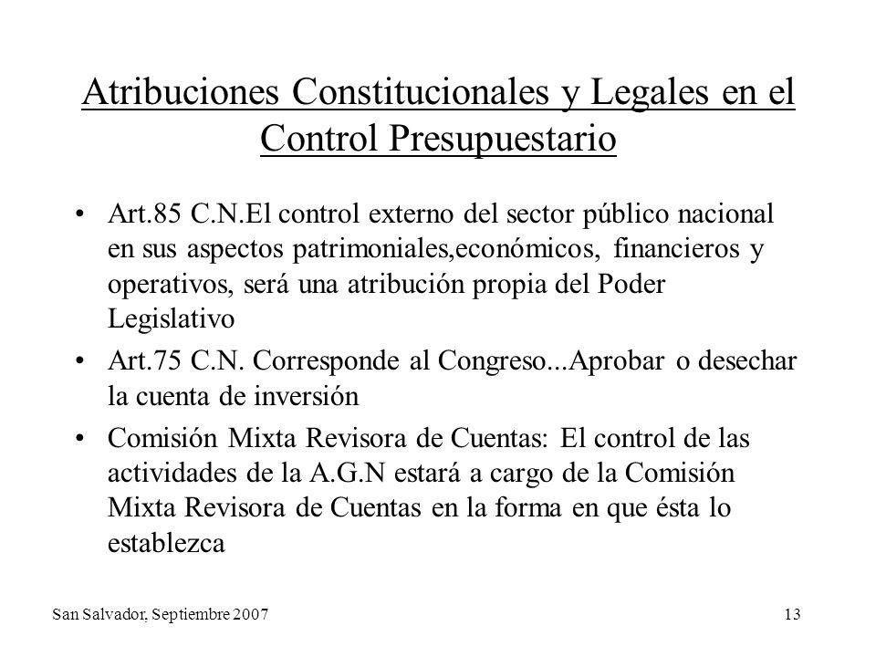 13 Atribuciones Constitucionales y Legales en el Control Presupuestario Art.85 C.N.El control externo del sector público nacional en sus aspectos patr
