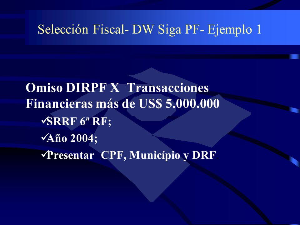 Selección Fiscal- DW Siga PF- Ejemplo 1 Omiso DIRPF X Transacciones Financieras más de US$ 5.000.000 SRRF 6ª RF; Año 2004; Presentar CPF, Município y