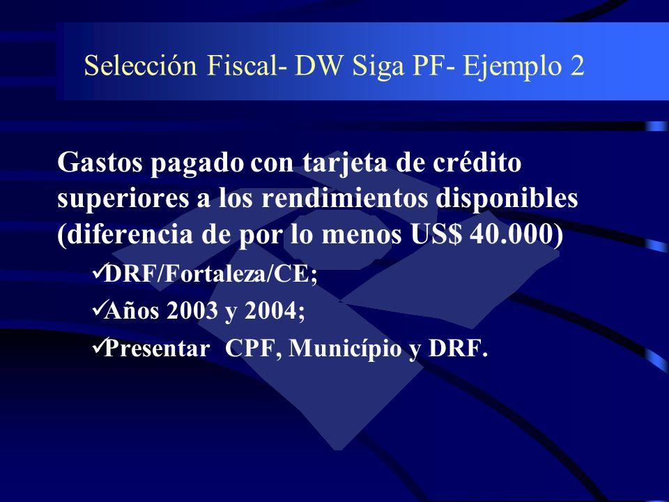 Selección Fiscal- DW Siga PF- Ejemplo 2 Gastos pagado con tarjeta de crédito superiores a los rendimientos disponibles (diferencia de por lo menos US$