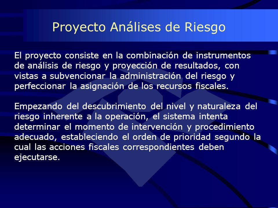 Proyecto Análises de Riesgo El proyecto consiste en la combinación de instrumentos de análisis de riesgo y proyección de resultados, con vistas a subv