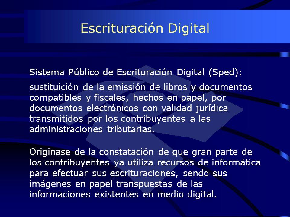 Escrituración Digital Originase de la constatación de que gran parte de los contribuyentes ya utiliza recursos de informática para efectuar sus escrit