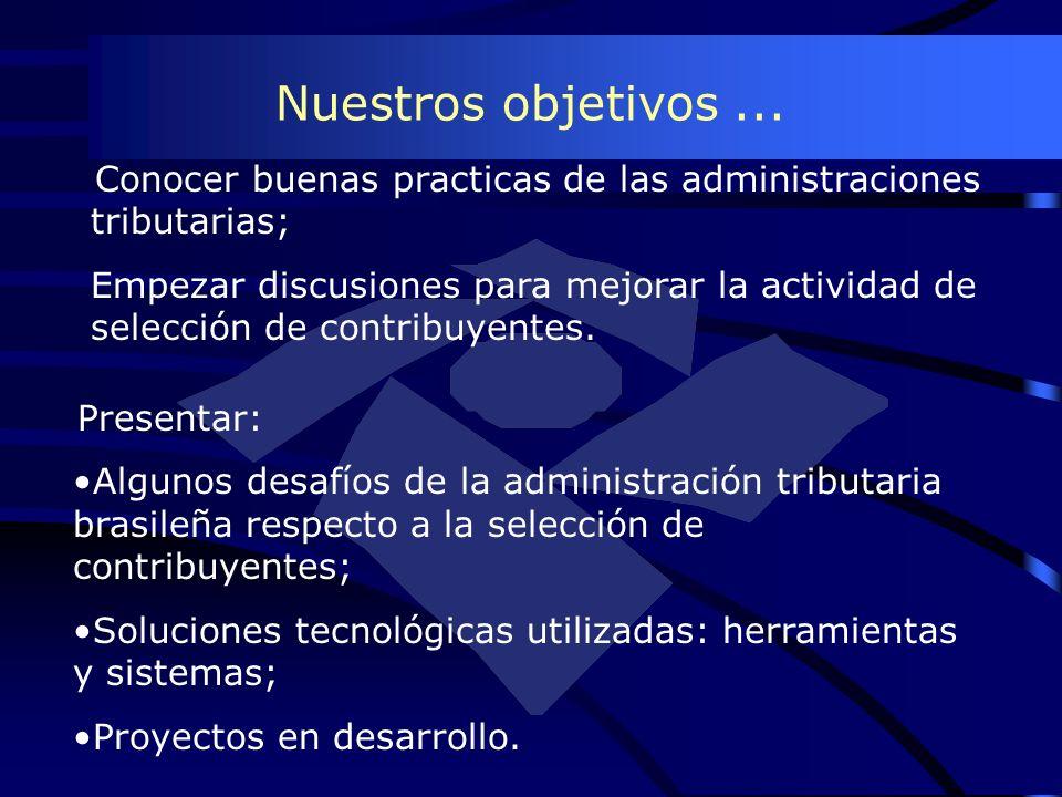Nuestros objetivos... Presentar: Algunos desafíos de la administración tributaria brasileña respecto a la selección de contribuyentes; Soluciones tecn