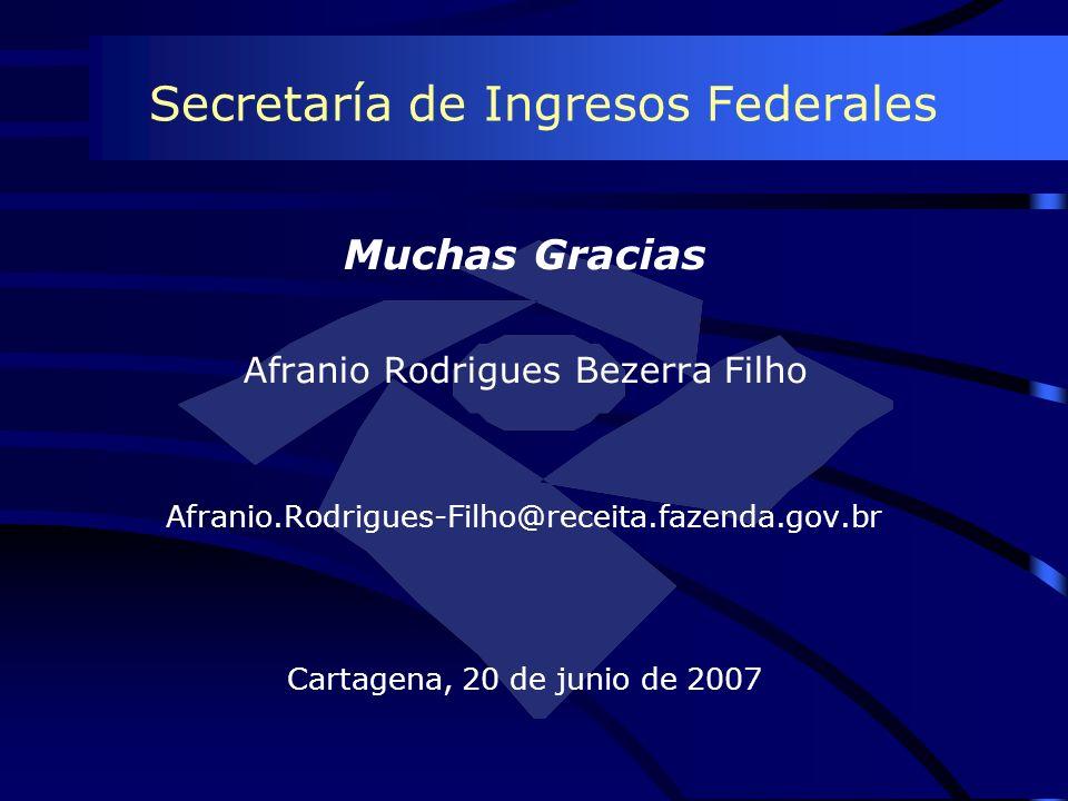 Secretaría de Ingresos Federales Muchas Gracias Afranio Rodrigues Bezerra Filho Afranio.Rodrigues-Filho@receita.fazenda.gov.br Cartagena, 20 de junio