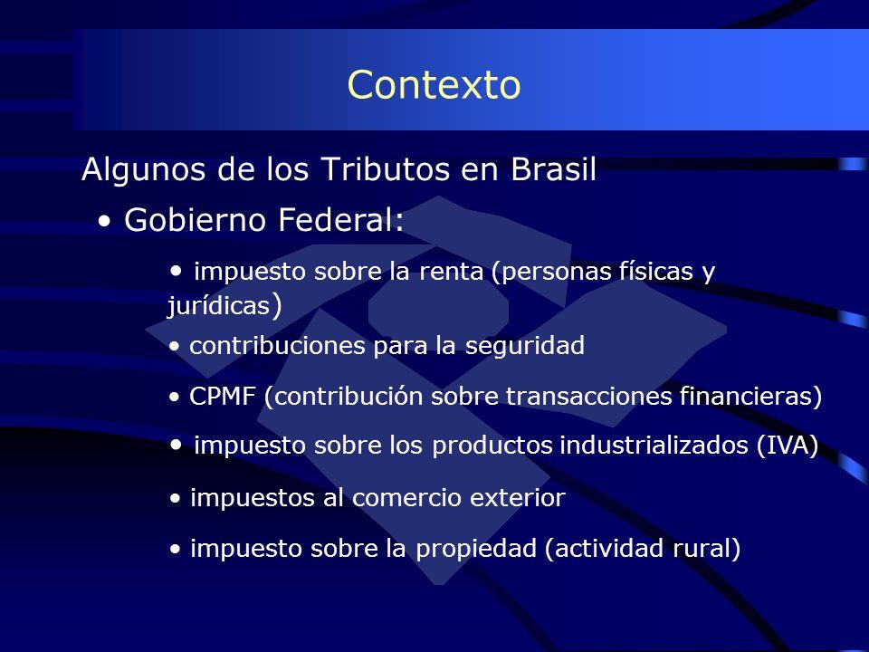 Contexto Algunos de los Tributos en Brasil Gobierno Federal: impuesto sobre la renta (personas físicas y jurídicas ) contribuciones para la seguridad