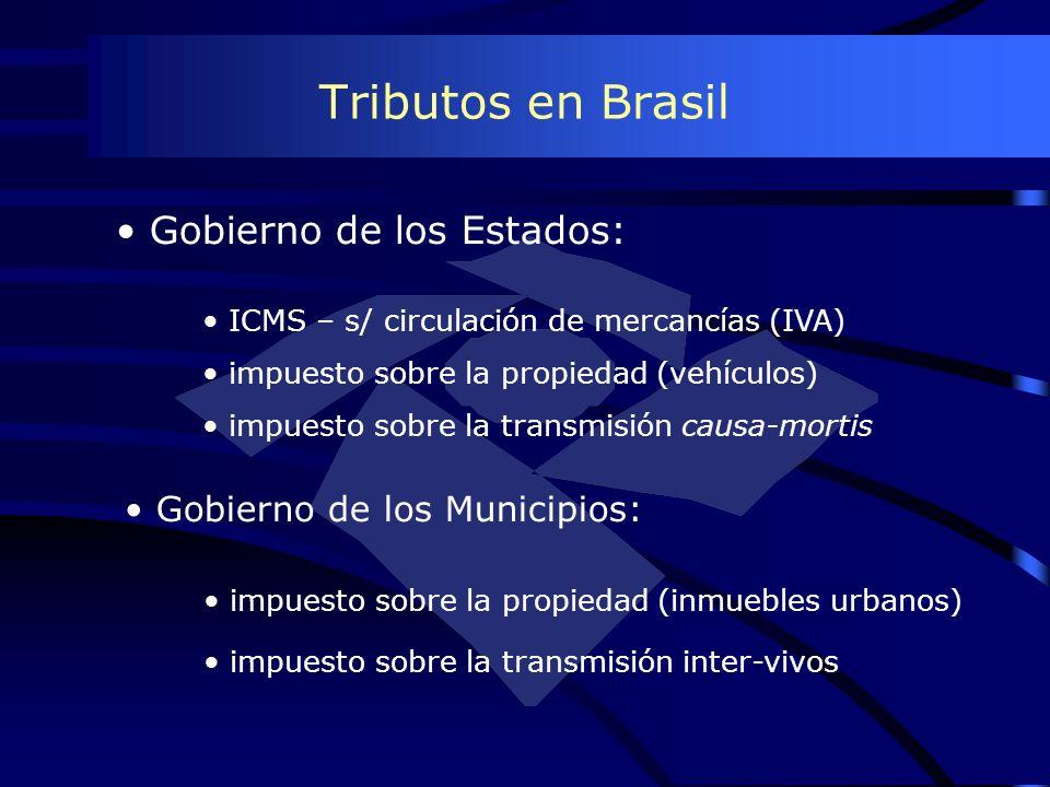 Tributos en Brasil Gobierno de los Estados: ICMS – s/ circulación de mercancías (IVA) impuesto sobre la propiedad (vehículos) impuesto sobre la transm