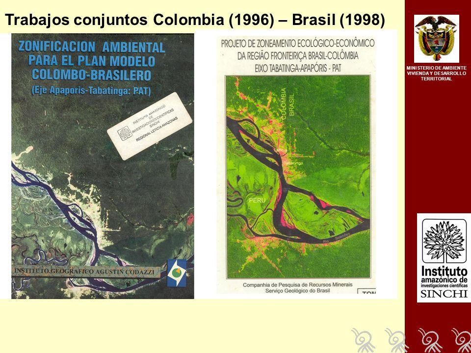 MINISTERIO DE AMBIENTE VIVIENDA Y DESARROLLO TERRITORIAL Trabajos conjuntos Colombia (1996) – Brasil (1998)