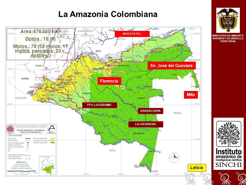 Formulación de bases de política para la amazonia colombiana, considerando avances de agenda 21 y su incorporación en los procesos de planificación territorial Ejes articuladores: Gobernabilidad política Conservación y aprovechamiento de los RN Equidad, bienestar e interculturalidad Equilibrio territorial, ventajas comparativas y competitivas, organización de la producción Capacidades comunitarias y locales MINISTERIO DE AMBIENTE VIVIENDA Y DESARROLLO TERRITORIAL Mejorar de manera sostenida el nivel de vida y la calidad de vida de los habitantes de la Amazonia Colombiana, asegurando la protección del derecho a la vida, la conservación y el uso sostenible de los RN, el respeto y la valoración de la diversidad cultural, la protección de los derechos territoriales y económicos y la prevalencia de un sistema institucional y político legitimo, descentralizado e incluyente
