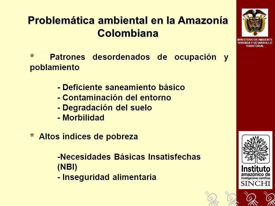 * Patrones desordenados de ocupación y poblamiento - Deficiente saneamiento básico - Contaminación del entorno - Degradación del suelo - Morbilidad * Altos índices de pobreza -Necesidades Básicas Insatisfechas (NBI) - Inseguridad alimentaria Problemática ambiental en la Amazonía Colombiana MINISTERIO DE AMBIENTE VIVIENDA Y DESARROLLO TERRITORIAL