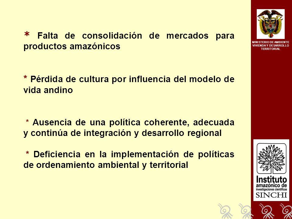 * Falta de consolidación de mercados para productos amazónicos * Pérdida de cultura por influencia del modelo de vida andino * Ausencia de una política coherente, adecuada y continúa de integración y desarrollo regional * Deficiencia en la implementación de políticas de ordenamiento ambiental y territorial MINISTERIO DE AMBIENTE VIVIENDA Y DESARROLLO TERRITORIAL