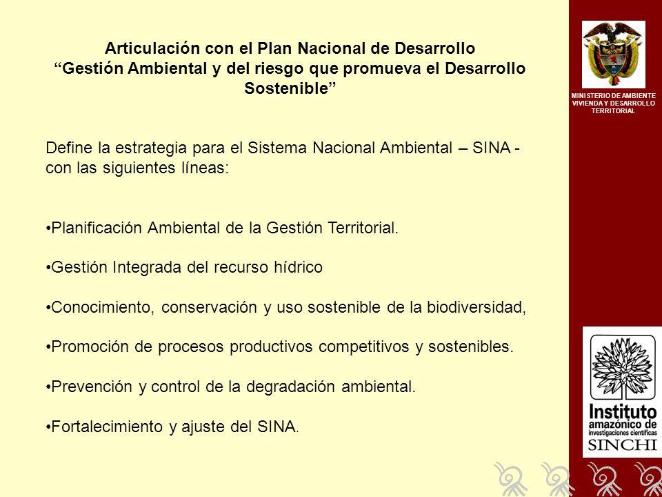 Articulación con el Plan Nacional de Desarrollo Gestión Ambiental y del riesgo que promueva el Desarrollo Sostenible Define la estrategia para el Sistema Nacional Ambiental – SINA - con las siguientes líneas: Planificación Ambiental de la Gestión Territorial.