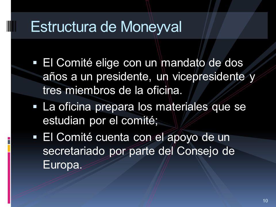 10 Estructura de Moneyval El Comité elige con un mandato de dos años a un presidente, un vicepresidente y tres miembros de la oficina. La oficina prep