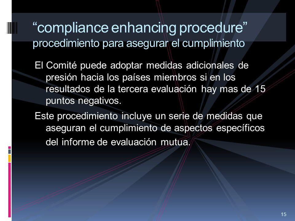15 compliance enhancing procedure procedimiento para asegurar el cumplimiento El Comité puede adoptar medidas adicionales de presión hacia los países