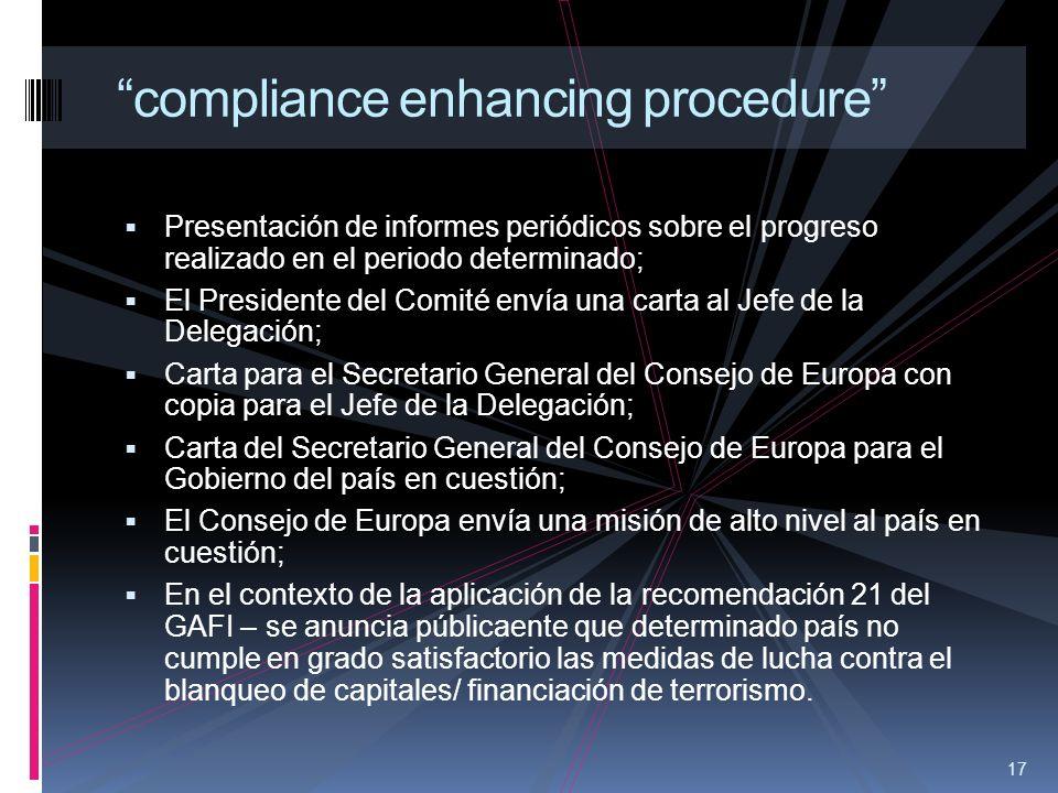 17 compliance enhancing procedure Presentación de informes periódicos sobre el progreso realizado en el periodo determinado; El Presidente del Comité