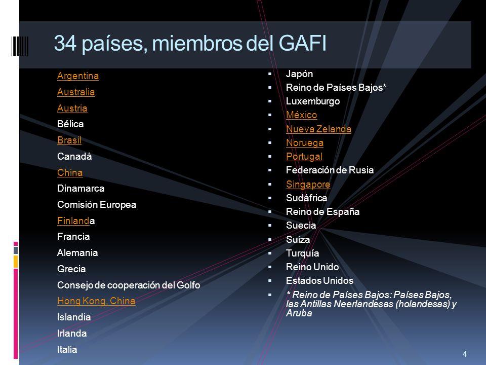 4 34 países, miembros del GAFI Argentina Australia Austria Bélica Brasil Canadá China Dinamarca Comisión Europea FinlandFinlanda Francia Alemania Grec