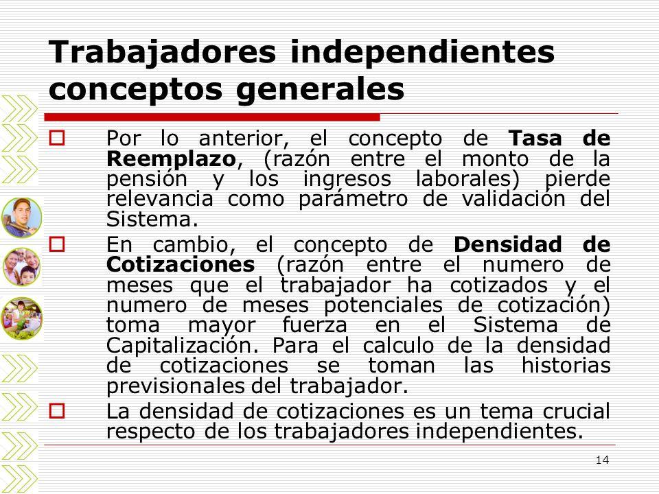 14 Trabajadores independientes conceptos generales Por lo anterior, el concepto de Tasa de Reemplazo, (razón entre el monto de la pensión y los ingres