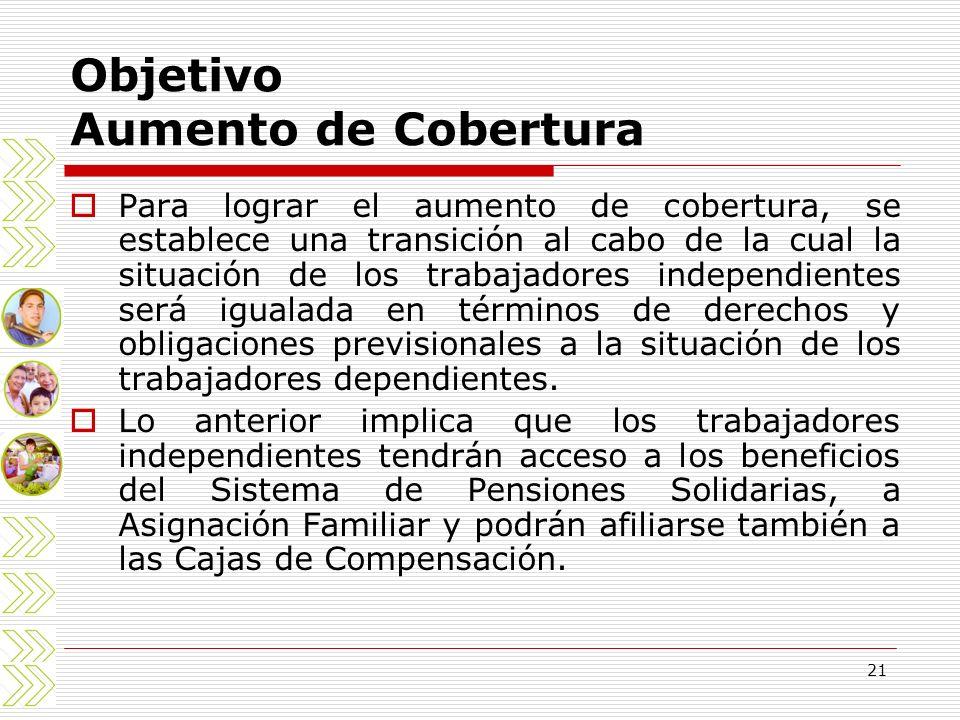 21 Objetivo Aumento de Cobertura Para lograr el aumento de cobertura, se establece una transición al cabo de la cual la situación de los trabajadores